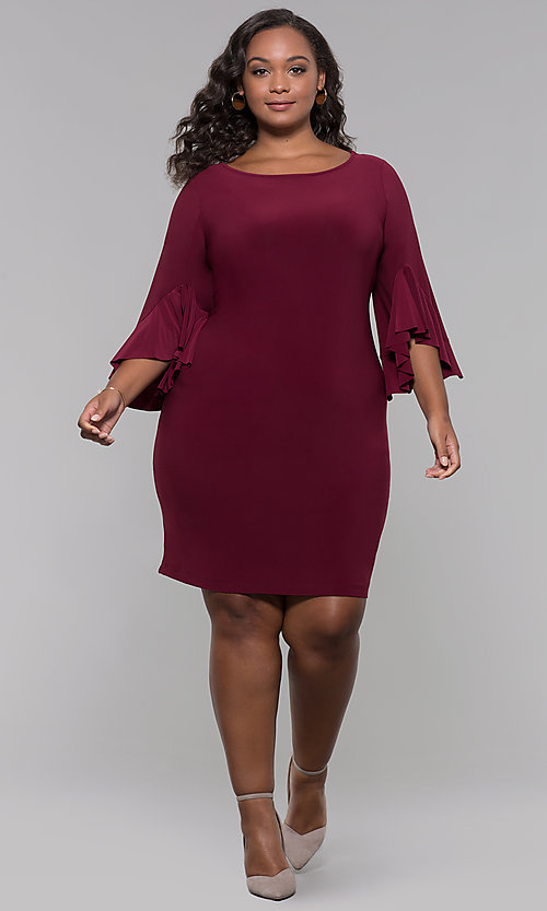 Image of short merlot red plus-size wedding guest dress. Style: JU-TI-t90129 Detail Image 3