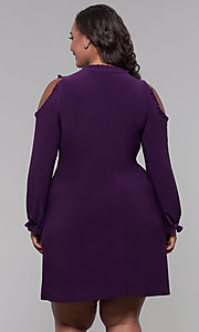 Image of long-sleeve plus-size short wedding-guest dress. Style: JU-TI-t90331 Back Image