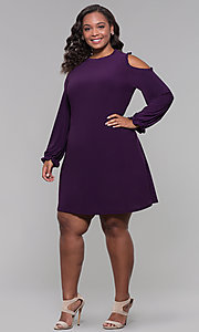 Image of long-sleeve plus-size short wedding-guest dress. Style: JU-TI-t90331 Detail Image 3