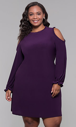 Long-Sleeve Plus-Size Short Wedding-Guest Dress