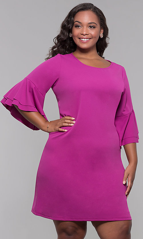 Image of magenta pink plus-size short wedding-guest dress. Style: JU-TI-t91993 Front Image