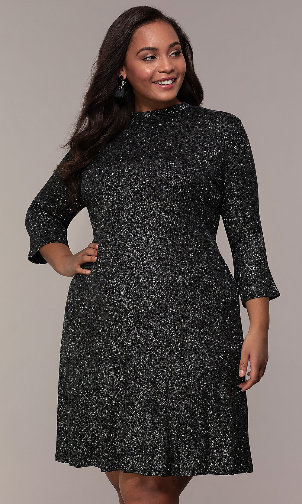 Plus-Size Short Glitter Party Dress with Sleeves