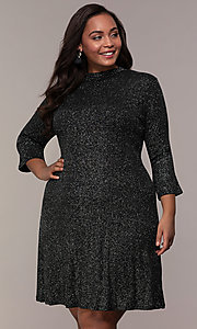 Image of plus-size short glitter party dress with sleeves. Style: JU-TI-899677 Front Image