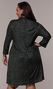 Image of plus-size short glitter party dress with sleeves. Style: JU-TI-899677 Back Image