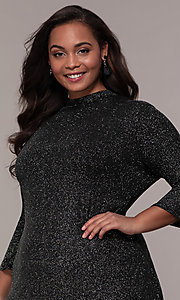 Image of plus-size short glitter party dress with sleeves. Style: JU-TI-899677 Detail Image 1