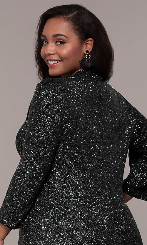 Image of plus-size short glitter party dress with sleeves. Style: JU-TI-899677 Detail Image 2