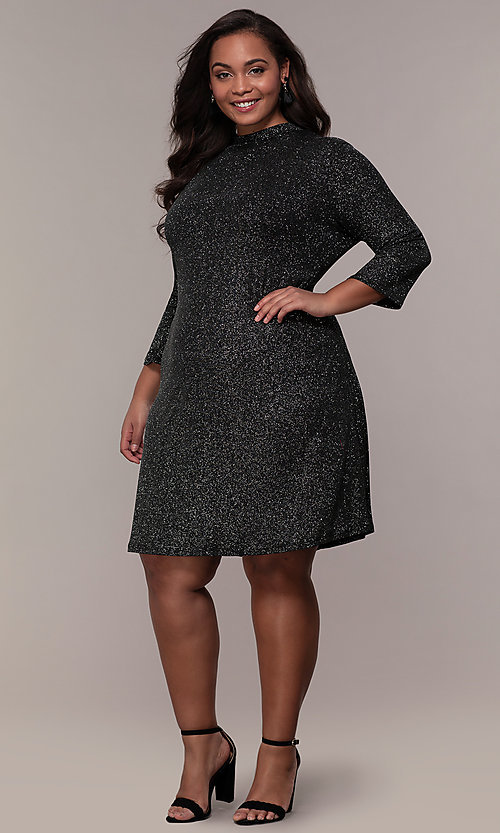 Image of plus-size short glitter party dress with sleeves. Style: JU-TI-899677 Detail Image 3