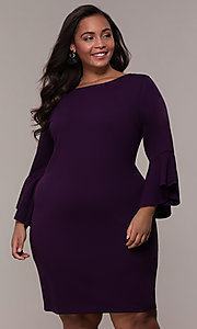 Image of eggplant purple short 3/4-sleeve plus party dress. Style: JU-TI-t92542 Front Image
