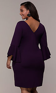 Image of eggplant purple short 3/4-sleeve plus party dress. Style: JU-TI-t92542 Back Image