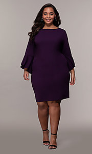Image of eggplant purple short 3/4-sleeve plus party dress. Style: JU-TI-t92542 Detail Image 3