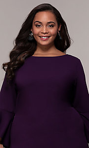 Image of eggplant purple short 3/4-sleeve plus party dress. Style: JU-TI-t92542 Detail Image 1