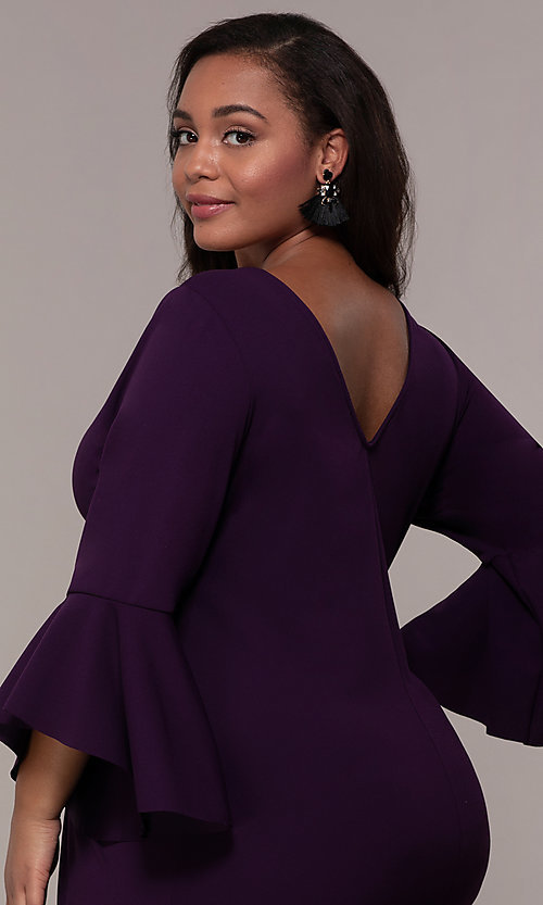 Image of eggplant purple short 3/4-sleeve plus party dress. Style: JU-TI-t92542 Detail Image 2