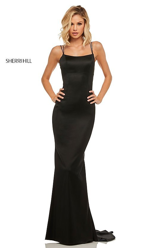 Image of open-back scoop-neck Sherri Hill long prom dress. Style: SH-52613 Front Image