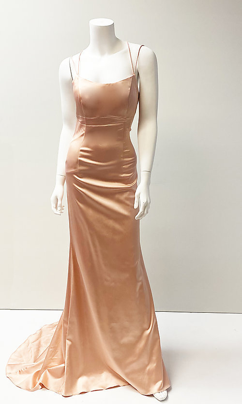 Image of open strappy-back long elegant prom dress. Style: SH-52613 Front Image