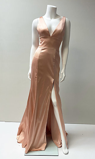 Long Formal V-Neck Classic Satin Gown