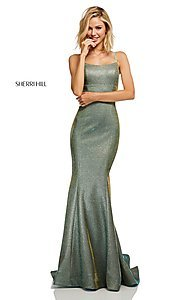Image of shimmer open-back prom dress by Sherri Hill. Style: SH-52614 Detail Image 3