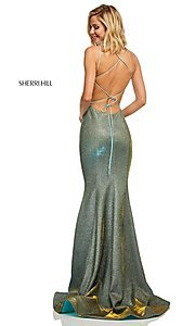Image of shimmer open-back prom dress by Sherri Hill. Style: SH-52614 Detail Image 4