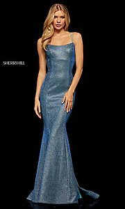 Image of shimmer open-back prom dress by Sherri Hill. Style: SH-52614 Detail Image 1