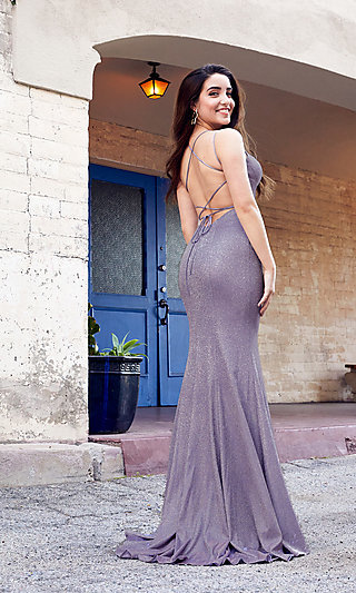 Metallic Glitter Long Backless Formal Prom Gown