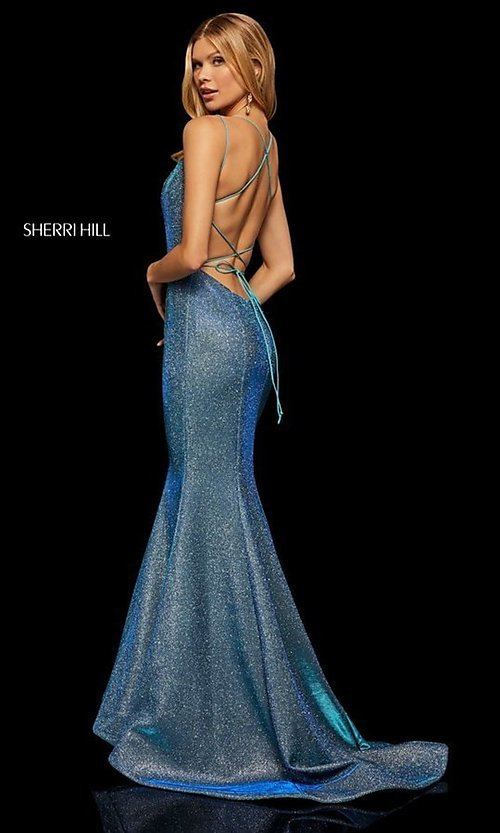 Image of shimmer open-back prom dress by Sherri Hill. Style: SH-52614 Detail Image 2