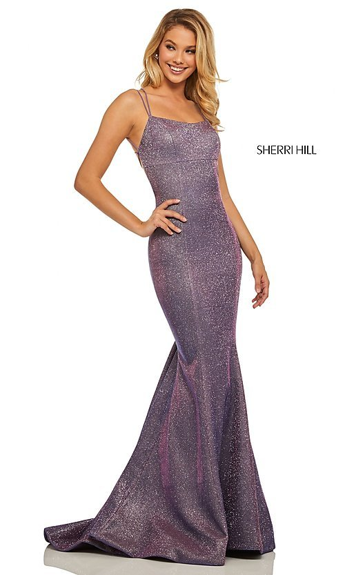 Image of shimmer open-back prom dress by Sherri Hill. Style: SH-52614 Back Image