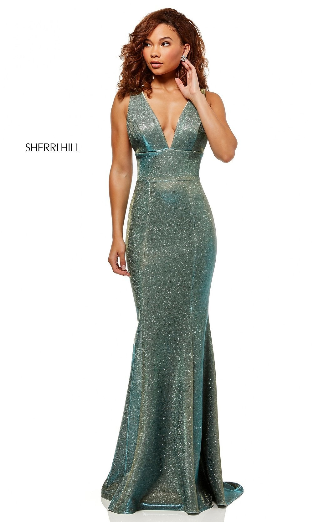 c0fd9932ff3 Image of Sherri Hill v-neck glitter mermaid prom dress. Style  SH-. Tap to  expand