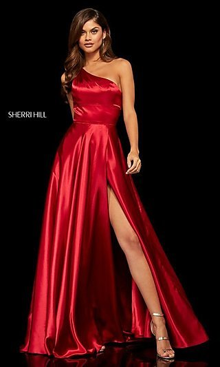 Sherri Hill One-Shoulder Long Formal Prom Dress