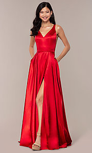 Image of long sleeveless a-line Sherri Hill formal gown. Style: SH-52410 Front Image