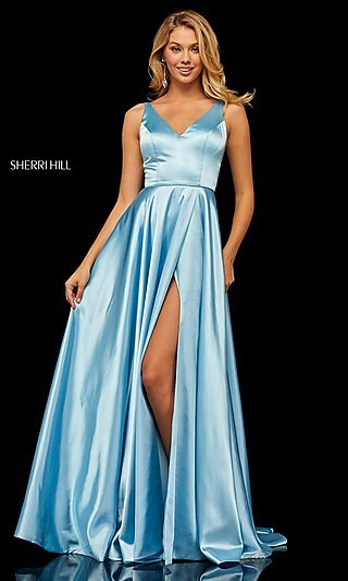 Long Sleeveless A-Line Sherri Hill Formal Gown