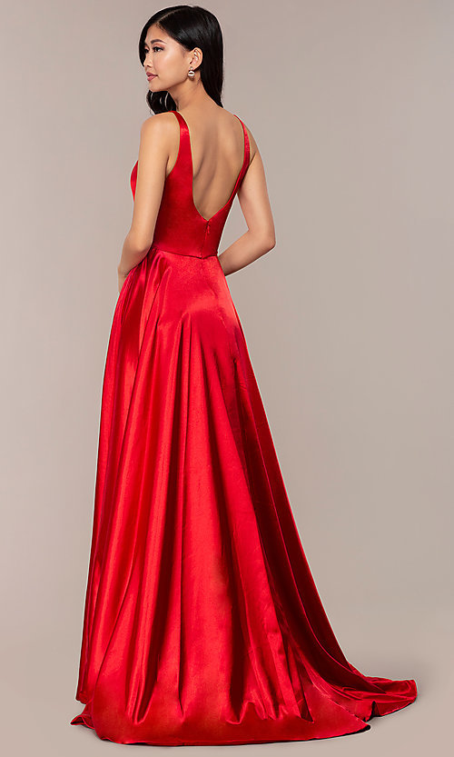 Image of long sleeveless a-line Sherri Hill formal gown. Style: SH-52410 Back Image