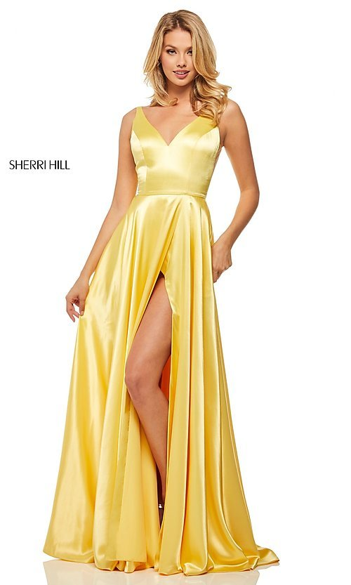 Image of long sleeveless a-line Sherri Hill formal gown. Style: SH-52410 Detail Image 4
