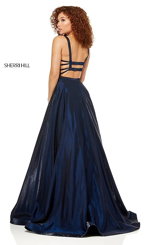 Image of Sherri Hill a-line metallic open-back prom dress. Style: SH-52457 Back Image