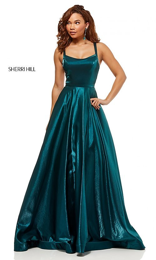Image of Sherri Hill a-line metallic open-back prom dress. Style: SH-52457 Detail Image 1