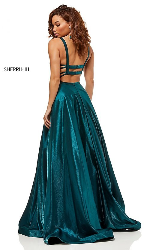 Image of Sherri Hill a-line metallic open-back prom dress. Style: SH-52457 Detail Image 2
