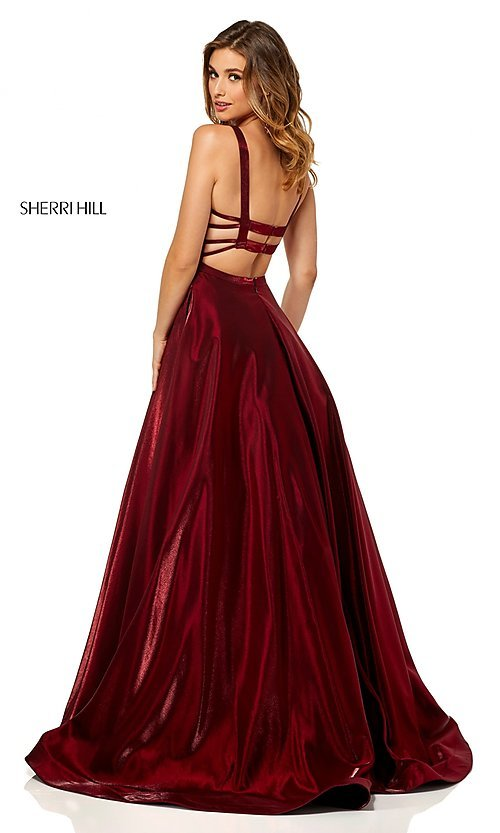 Image of Sherri Hill a-line metallic open-back prom dress. Style: SH-52457 Detail Image 4