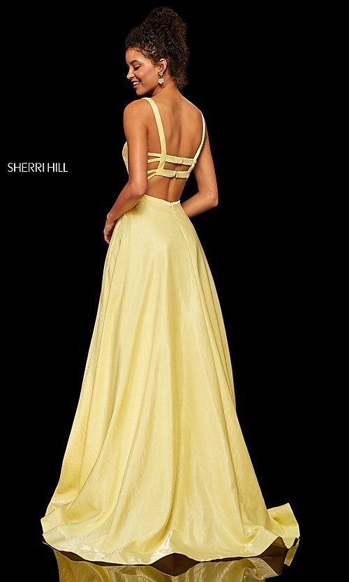 Image of Sherri Hill a-line metallic open-back prom dress. Style: SH-52457 Detail Image 6