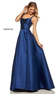 Image of long a-line Sherri Hill formal gown with pockets. Style: SH-52715 Detail Image 6