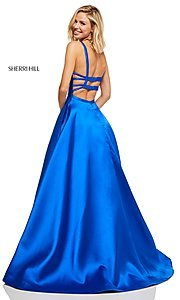 Image of long a-line Sherri Hill formal gown with pockets. Style: SH-52715 Detail Image 2