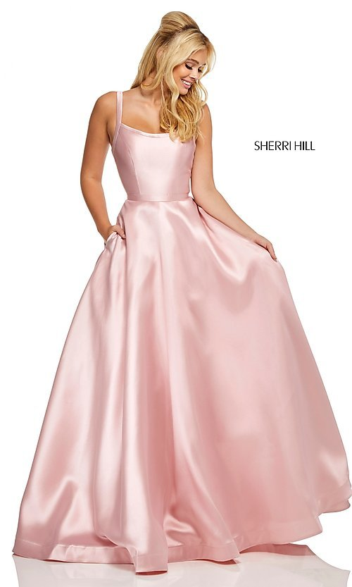Image of long a-line Sherri Hill formal gown with pockets. Style: SH-52715 Detail Image 4
