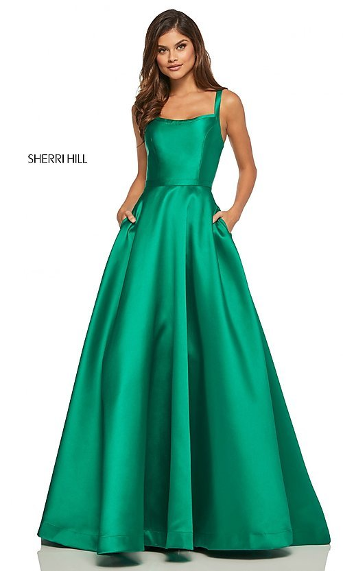Image of long a-line Sherri Hill formal gown with pockets. Style: SH-52715 Detail Image 8