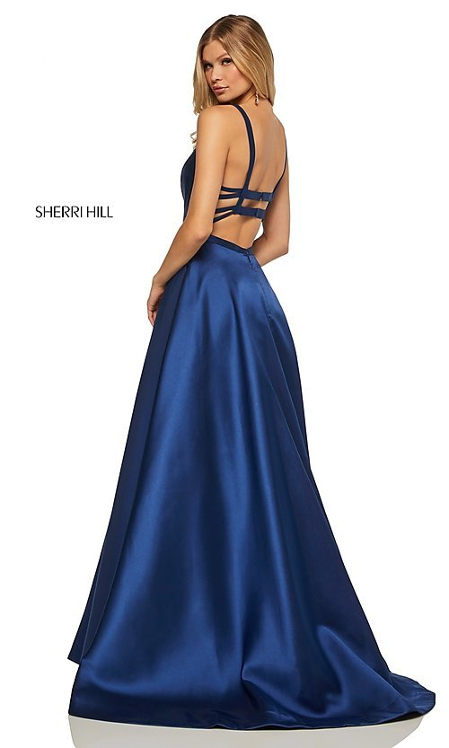 Image of long a-line Sherri Hill formal gown with pockets. Style: SH-52715 Detail Image 7