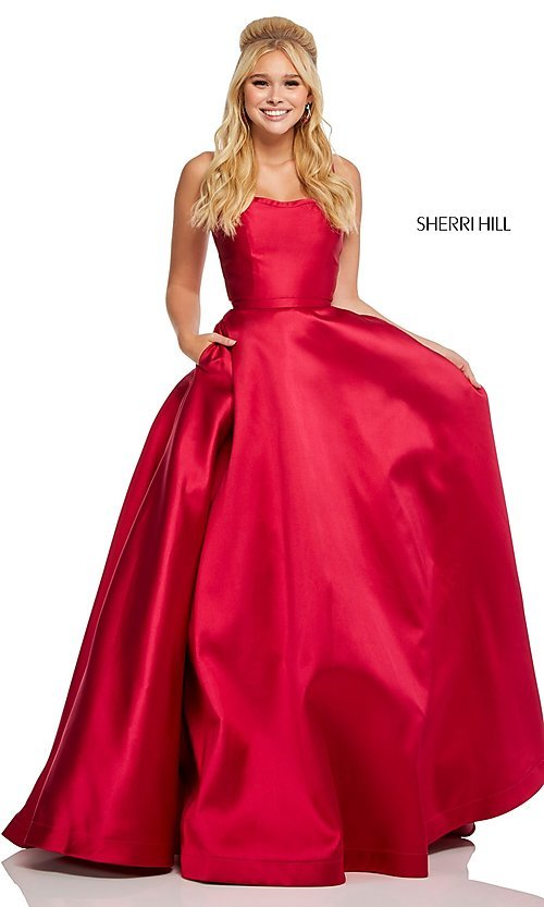 Image of long a-line Sherri Hill formal gown with pockets. Style: SH-52715 Back Image
