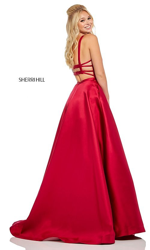 Image of long a-line Sherri Hill formal gown with pockets. Style: SH-52715 Front Image