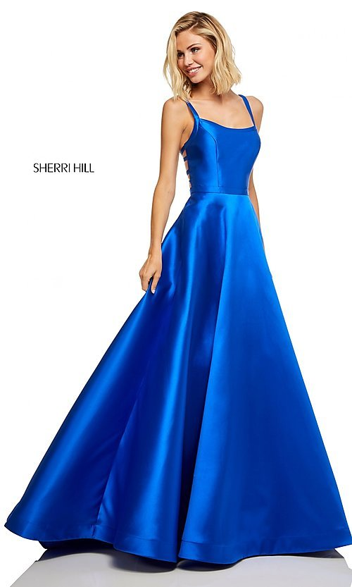 Image of long a-line Sherri Hill formal gown with pockets. Style: SH-52715 Detail Image 3