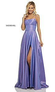 Image of Sherri Hill long empire-waist prom dress with pockets. Style: SH-52602 Detail Image 7