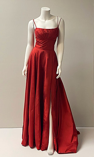 Long Empire-Waist Prom Dress with Pockets