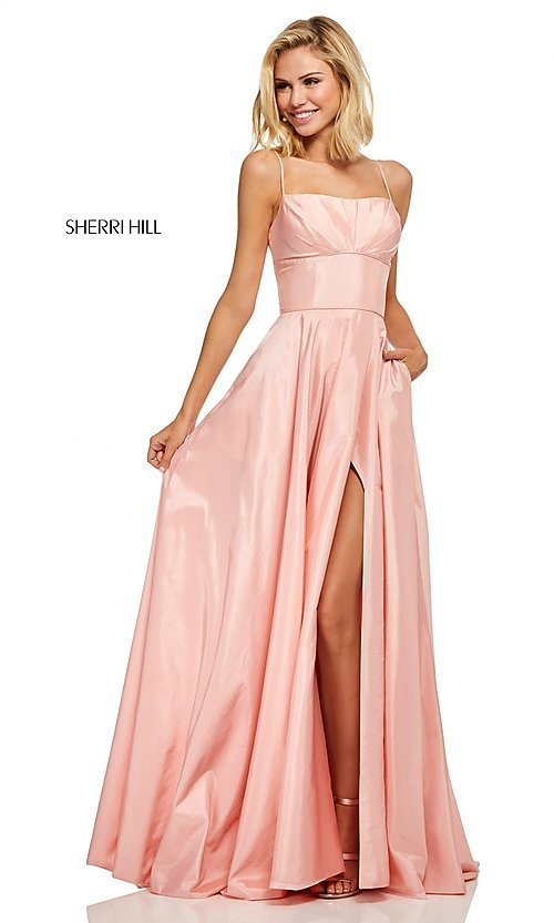 Image of Sherri Hill long empire-waist prom dress with pockets. Style: SH-52602 Front Image