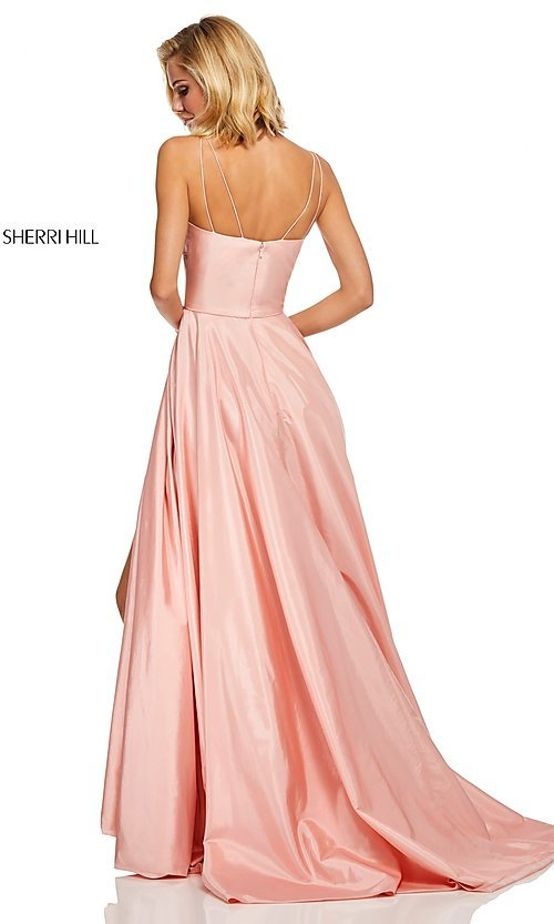 Image of Sherri Hill long empire-waist prom dress with pockets. Style: SH-52602 Back Image