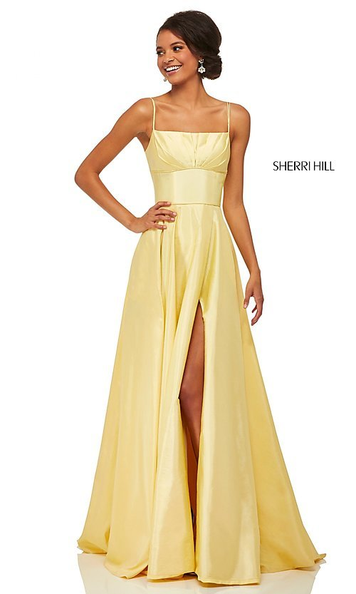 Image of Sherri Hill long empire-waist prom dress with pockets. Style: SH-52602 Detail Image 3