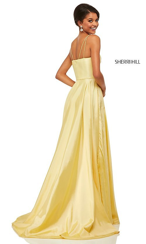 Image of Sherri Hill long empire-waist prom dress with pockets. Style: SH-52602 Detail Image 4